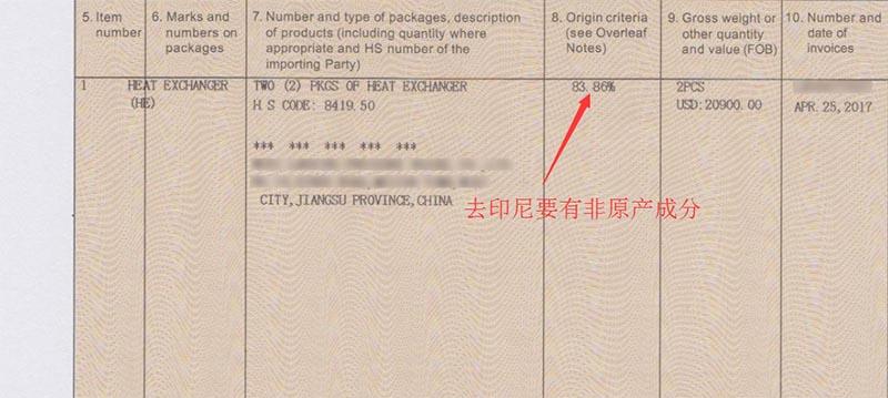 印尼Form E非原产成分