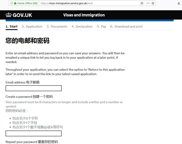 英国签证申请表